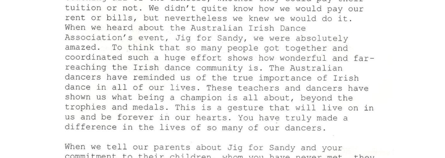 Jig for Sandy Irish dancing Hagen Kavanagh Hurricane Sandy thank you letter