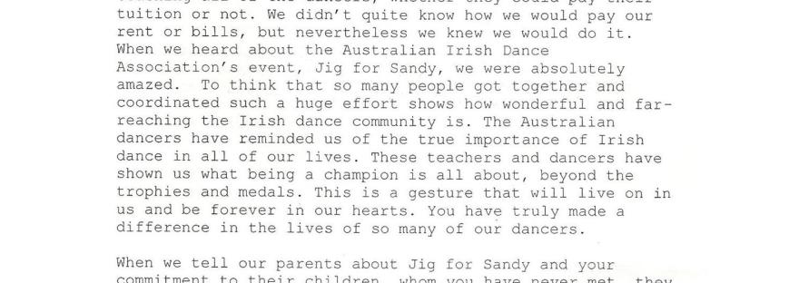 Jig for Sandy Irish dancing Hagen Kavanagh Hurricane Sandy thank you letter